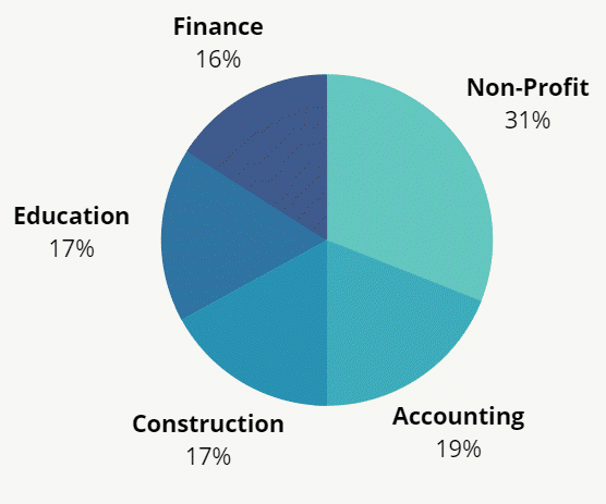 Top Industries Represented Pie Chart